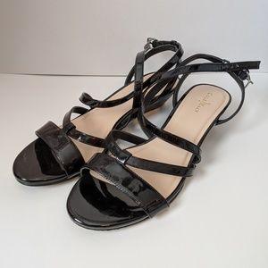 Cole Haan Kierin black patent low wedge sandals